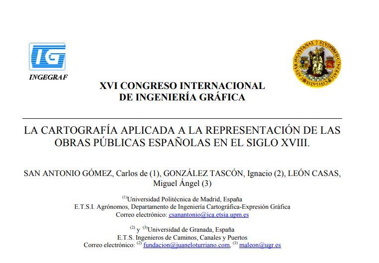 La cartografía aplicada a la representación de las obras públicas españolas en el siglo XVIII